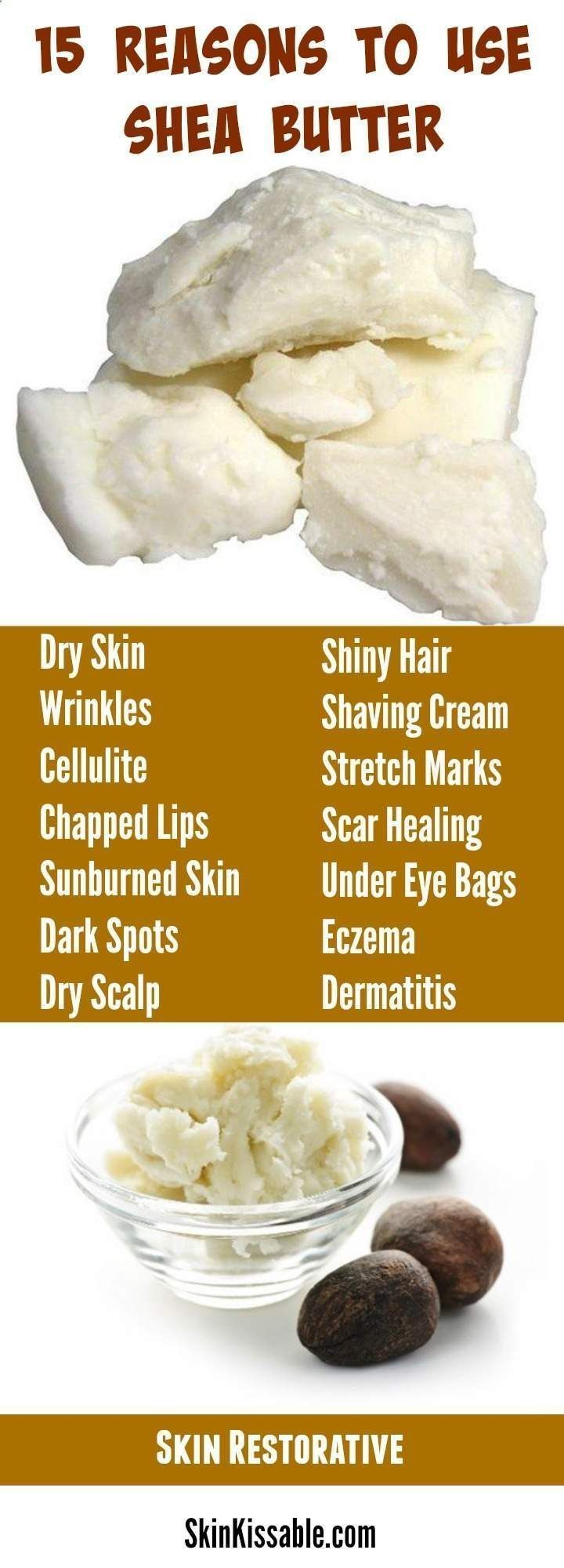 Shea Butter benefits and uses in skin care. Shea Butter DIY recipes for hair and...