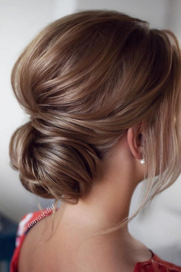 Bridal Hairstyles Messy Updo Low Bun Wedding Hairstyle From