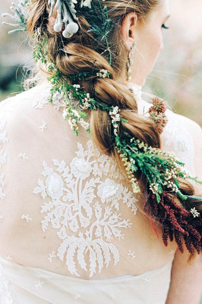 24 Stunning Greenery Wedding Hair Ideas ❤ greenery wedding hair ideas long bra...