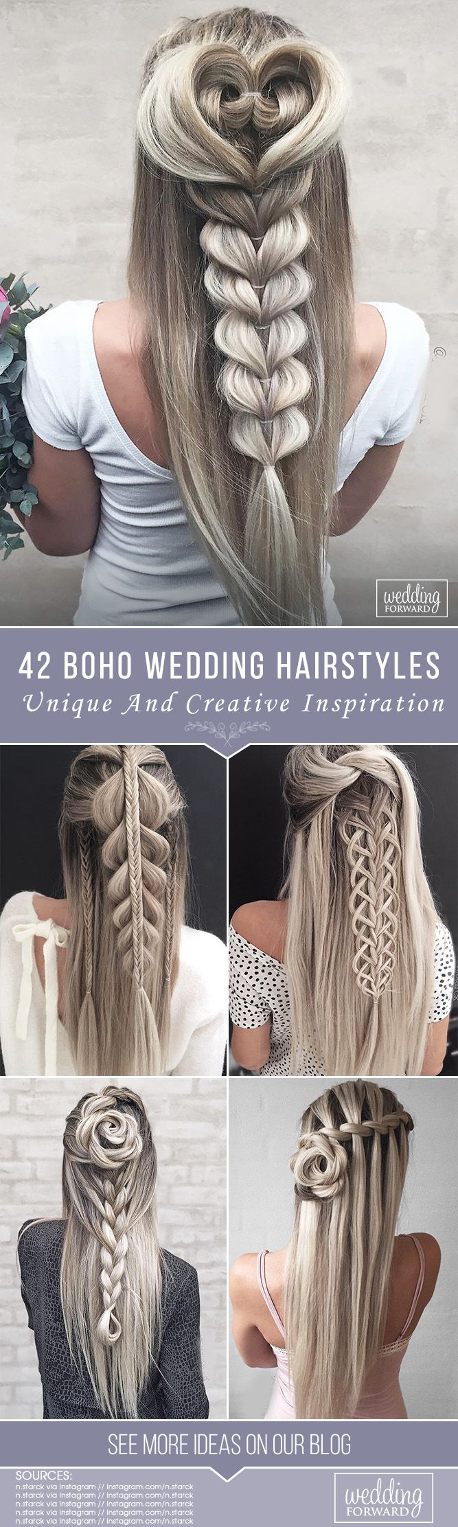 42 Boho Inspired Unique And Creative Wedding Hairstyles ❤ From creative hairst...
