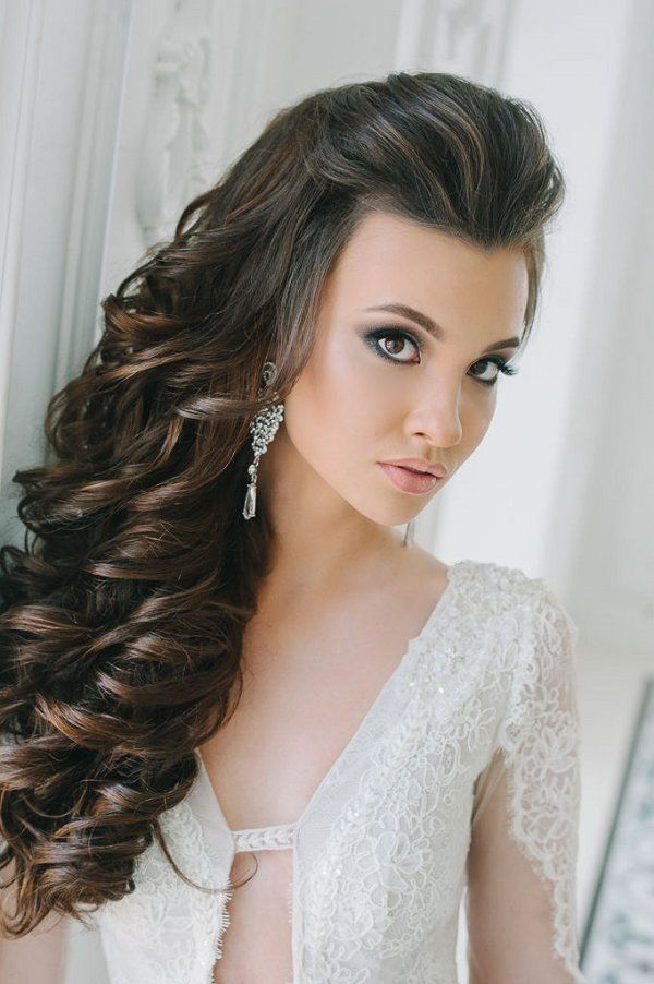 Bridal Hairstyles Side Down Long Curly Hairstyle For Bride