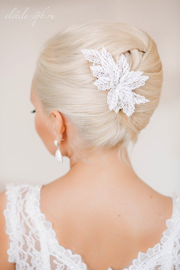 vintage wedding updo with lace hairpiece