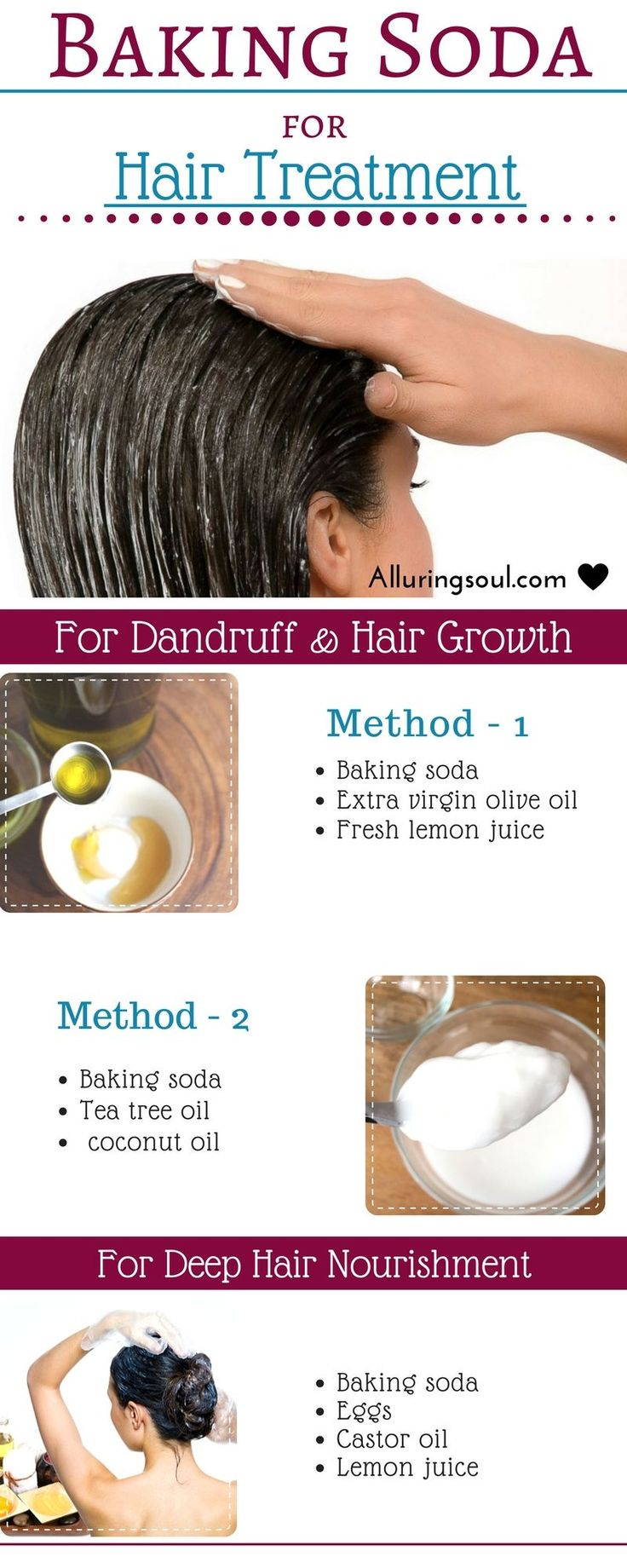 Baking soda is very effective for hair growth as well as for dandruff. It improv...