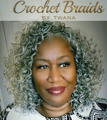 Crochet Braids with Freetress Gogo Curl in color Grey. 2 packs cut in half. 12...