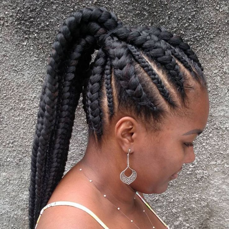 African Hair Braiding Cornrows Into Ponytail Hairstyle