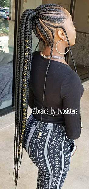 Lemonade braided ponytail hairstyles 2018 for black hair