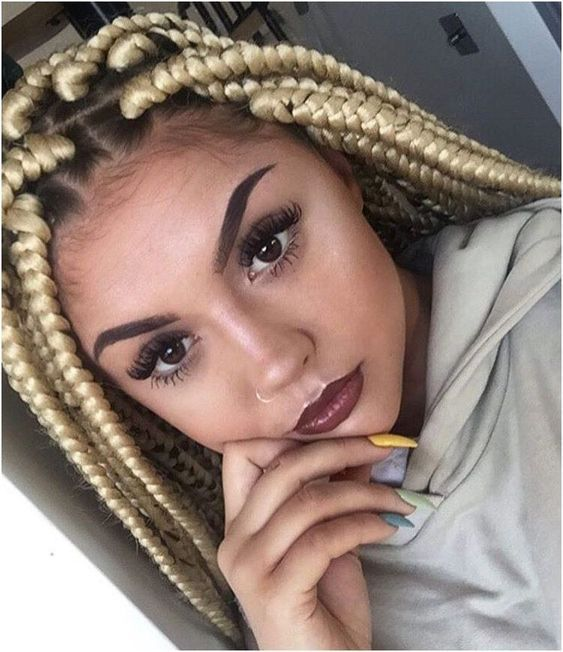 jumbo box braids ideas blonde hair