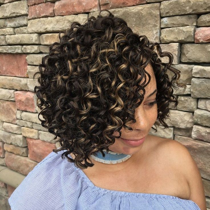 Side-Parted Curly Crochet Bob