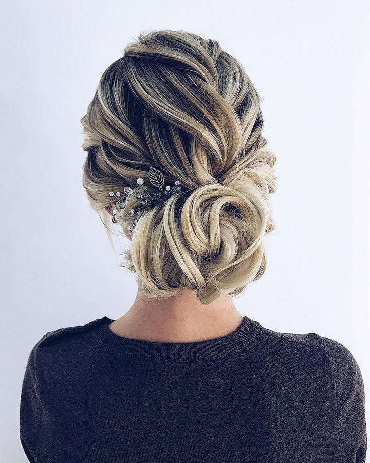 Textured wedding updo hairstyle ,messy updo wedding hairstyles ,chignon ,swept b...
