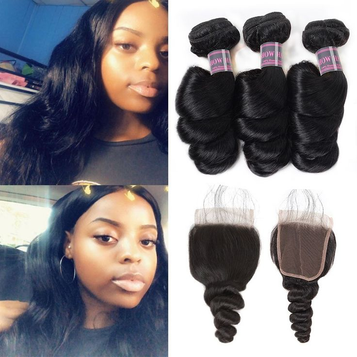100% Unprocessed Loose Wave Human Hair 3 Bundles with Free Closure Double Weft 8...