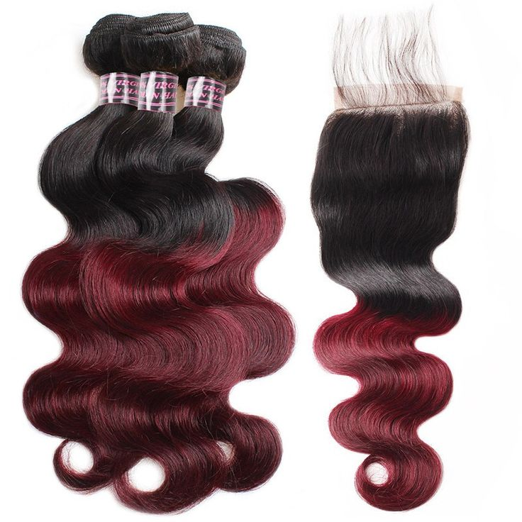 2 Tone Ombre Hair 3 Bundles With Closure Brazilian Peruvian Virgin Hair Body Wav...