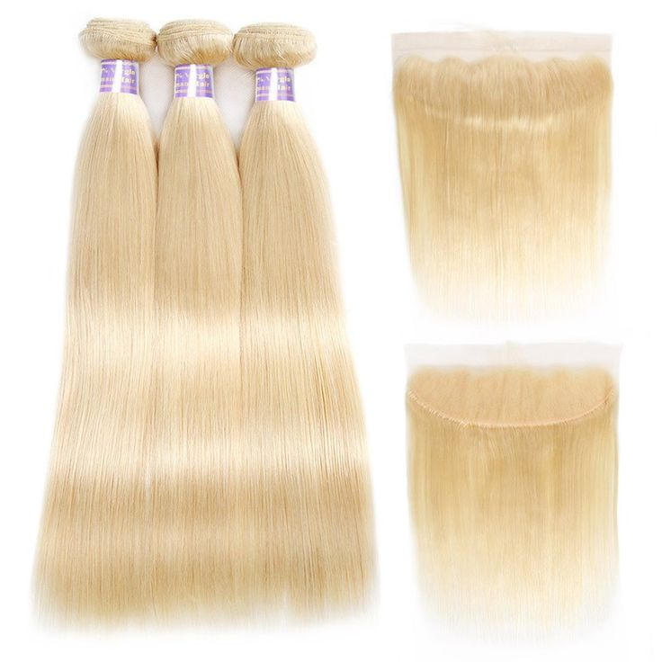 10A Allove Hair Straight Human Hair 613 Blonde Hair Bundles With Frontal Free Pa...