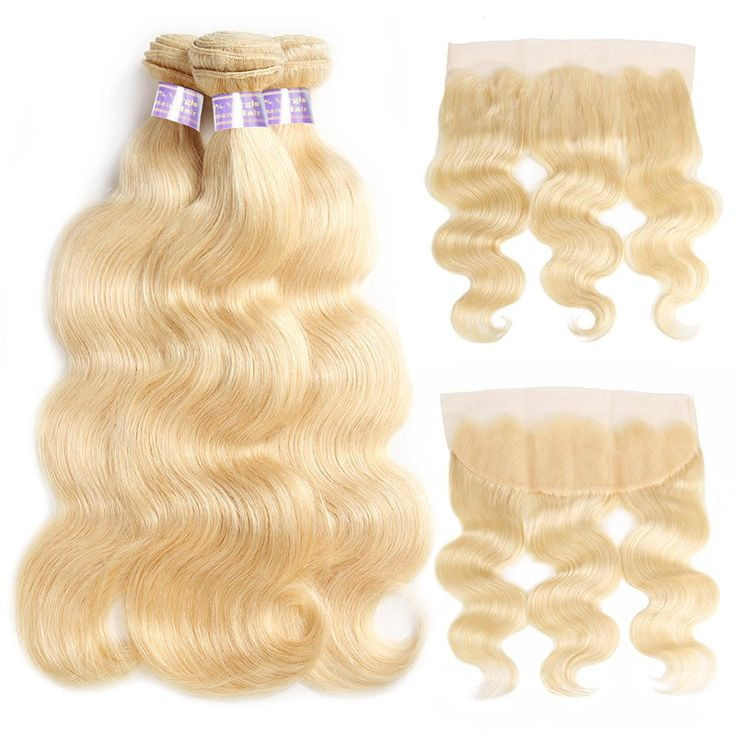 Allove 613 Blonde Human Hair 3 Bundles With Frontal Peruvian Body Wave With Baby...