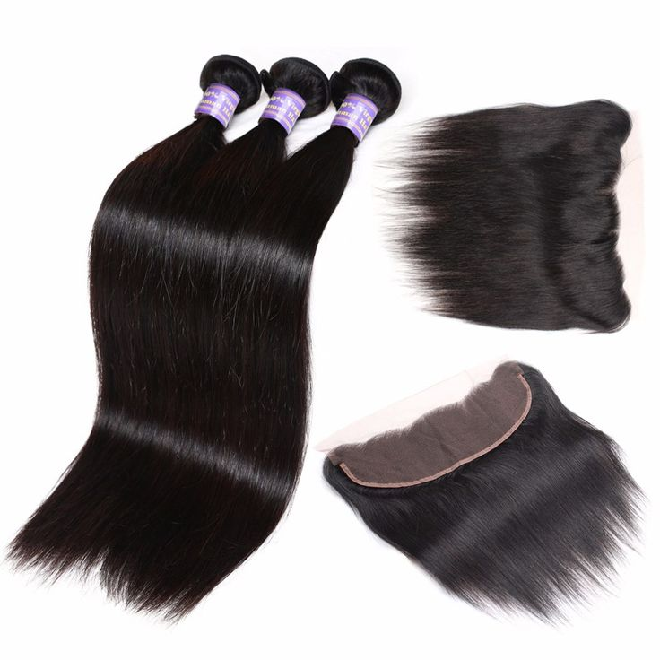 Allove Hair Malaysian Straight Hair Bundles With Lace Frontal 13x4 Natural Color...