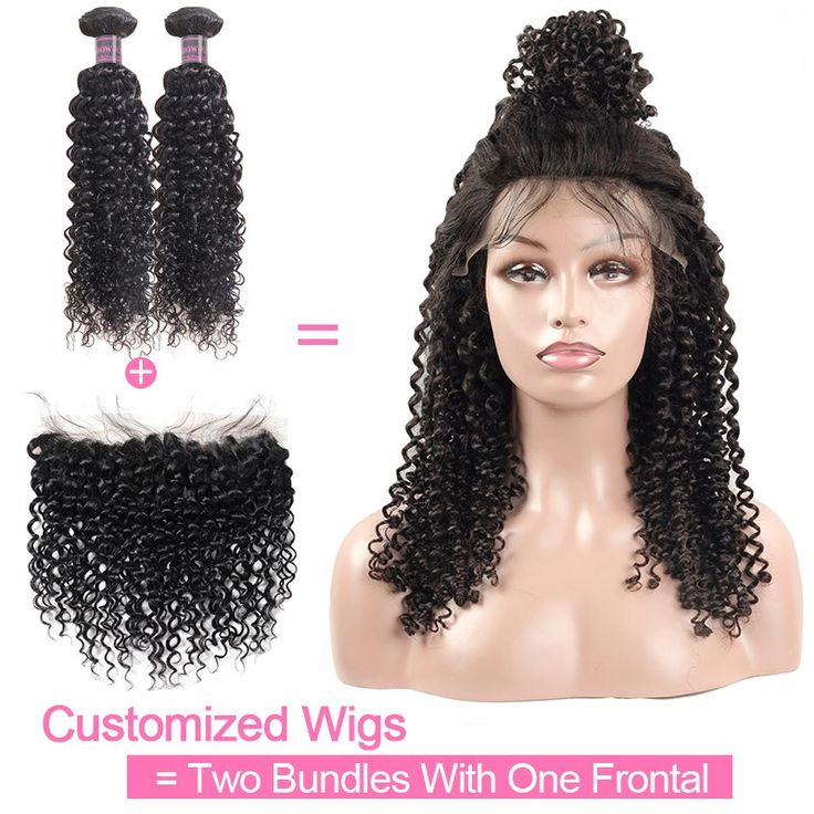 Customized Wig By 2Pcs Curly Human Hair With One Lace Frontal 130% Destiny Unpro...