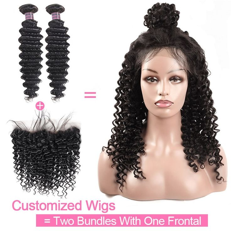 Customized Wig By 2Pcs Deep Wave Human Hair With One Lace Frontal 130% Destiny U...