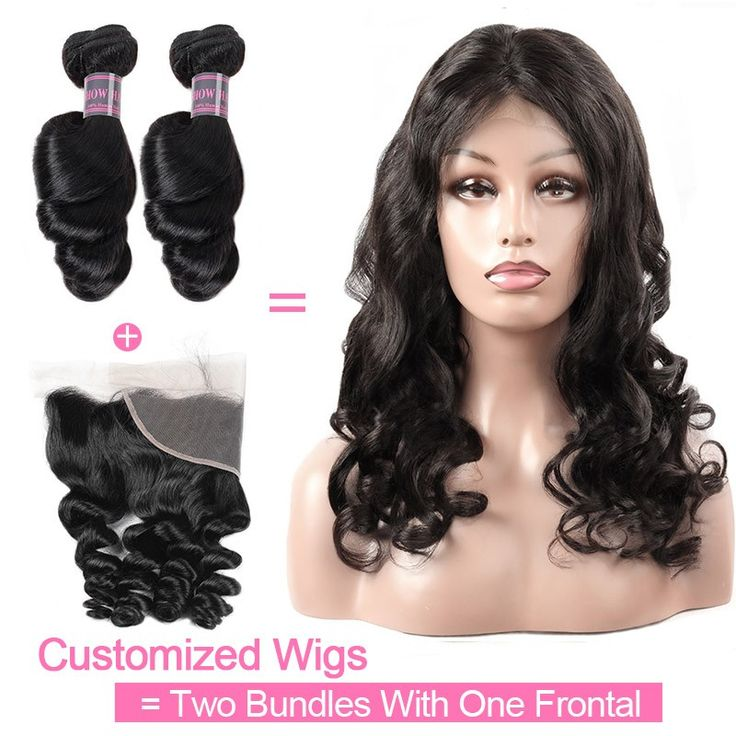 Customized Wig By 2Pcs Loose Wave Human Hair With One Lace Frontal 130% Destiny ...