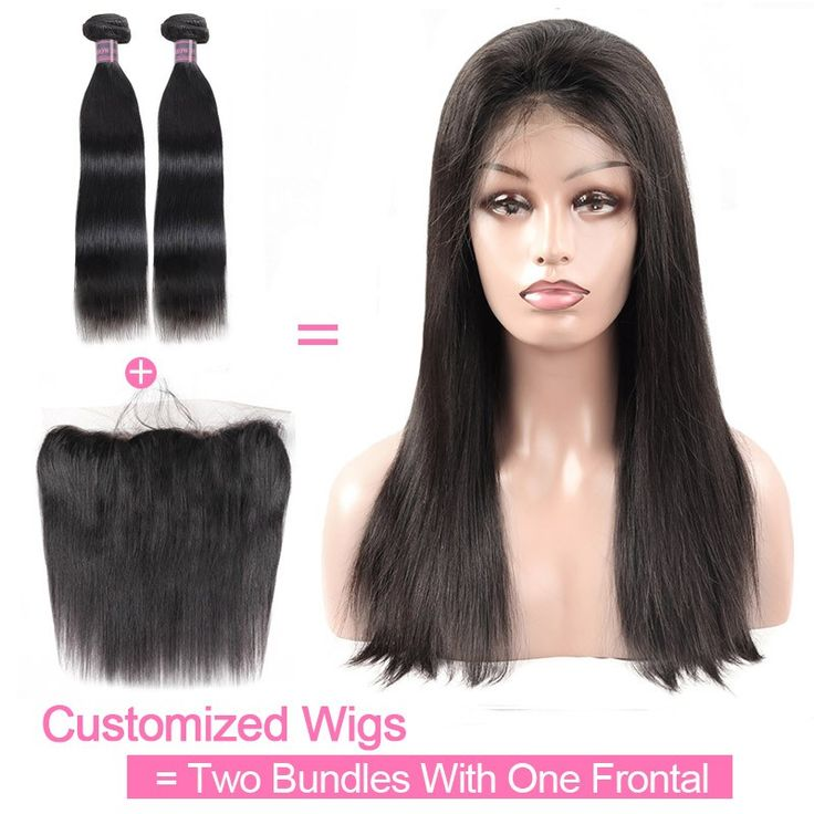 Customized Wig By 2Pcs Straight Human Hair With One Lace Frontal 130% Destiny Un...