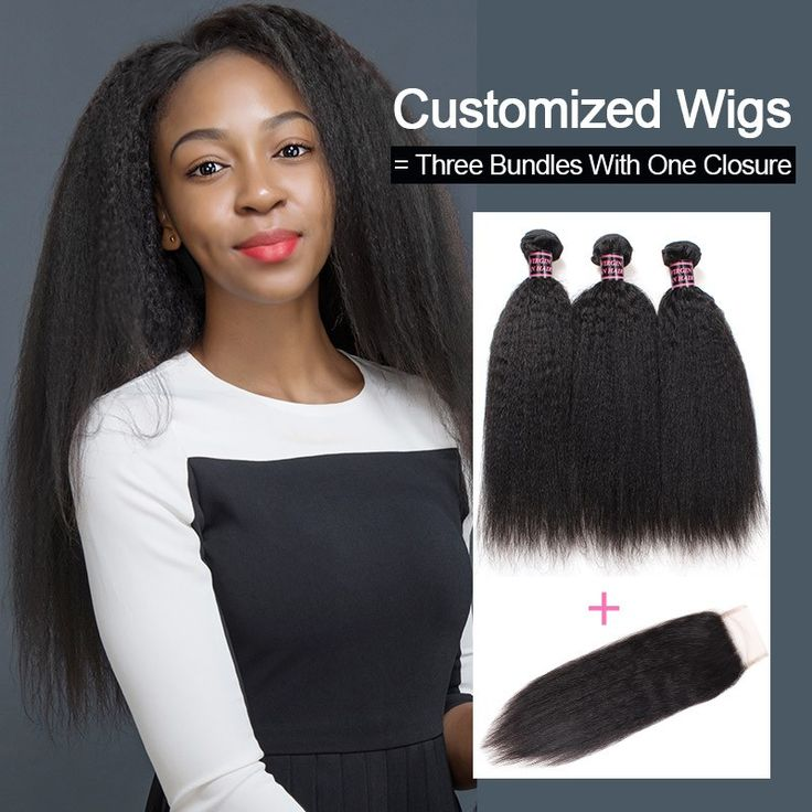 Customized Wigs Yaki Straight Human Hair Wigs By Three Bundles With Lace Closure...