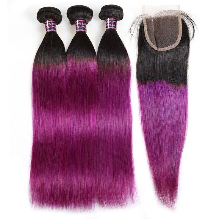 Hot Sale Virgin Hair Straight Hair Bundles With Closure 100% Unprocessed Human H...