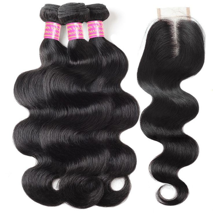 Hot Seeling Virgin Hair Body Wave 3 Bundles With Closure 100% Unprocessed Human ...