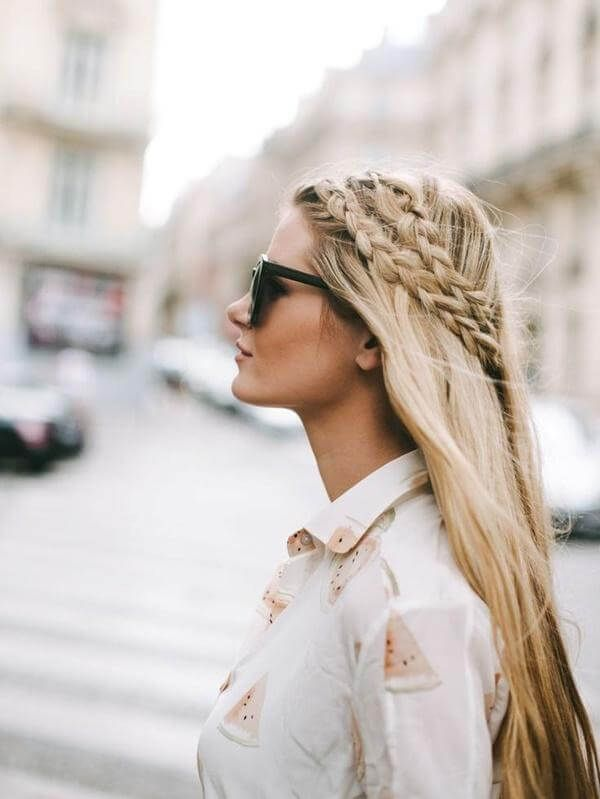 Straight hair with two small French braids