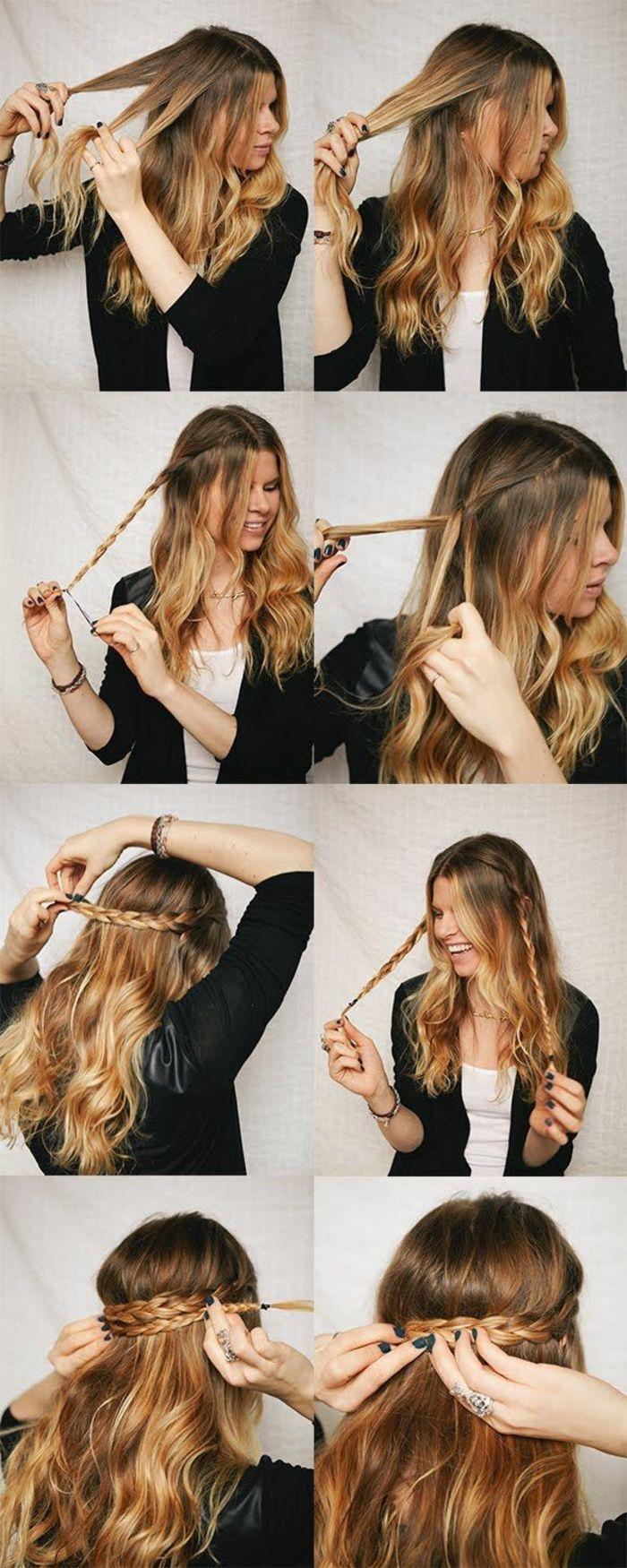 coiffure avec tresse, coiffures à faire soi-même