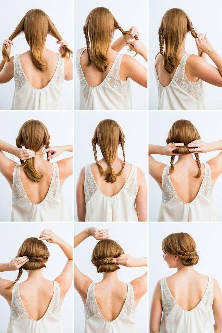 coiffure facile à faire chignon bas tressé étape par étape