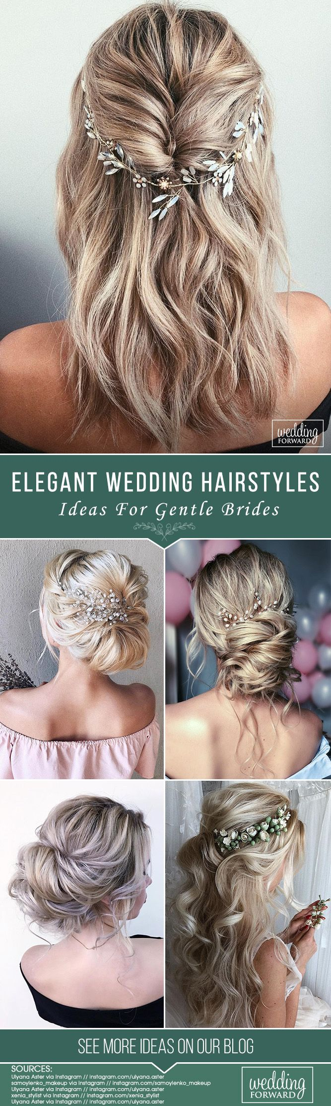30 Elegant Wedding Hairstyles For Gentle Brides ❤ Elegant wedding hairstyles a...