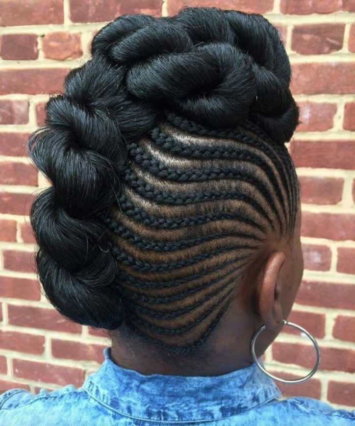African Hair Braiding Hair Updo Mohawk With Side Braids Beauty