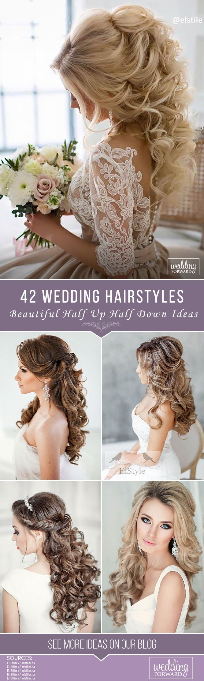 42 Stunning Half Up Half Down Wedding Hairstyles ❤ We have collected elegant c...