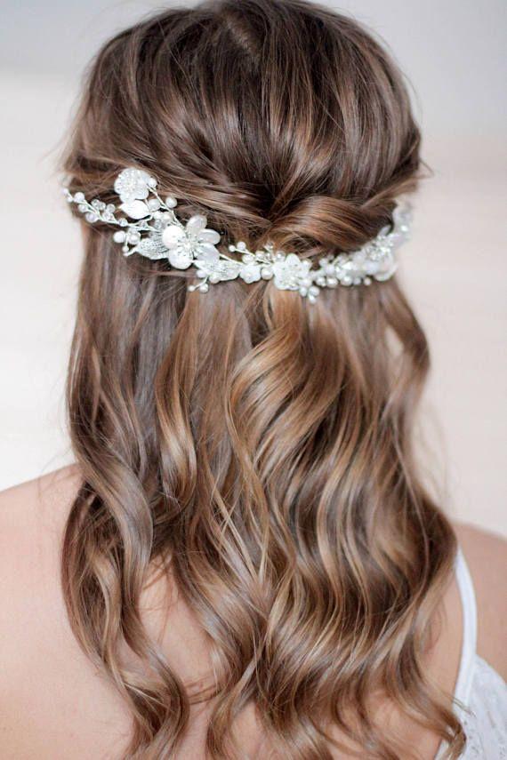 Natural Pearl Bridal Hair Piece Wedding Hair Piece Decorated #weddings #weddingh...