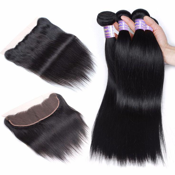 Allove 10A Hair 100% Human Hair Lace Frontal With Bundle Brazilian Straight Hair...