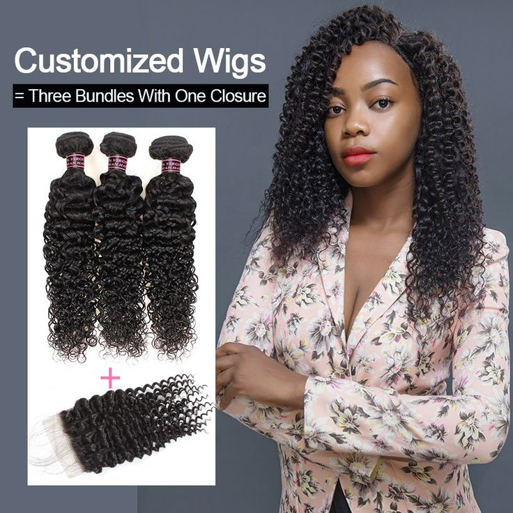 Customized Wigs Ishow Curly Human Hair Wigs Natural Black Human Hair Bundles 100...