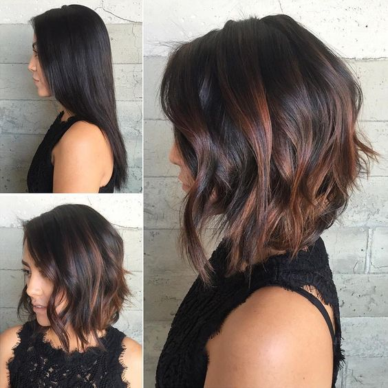Trendy Hair Color Highlights Inverted Bob With Copper Peek A Boo