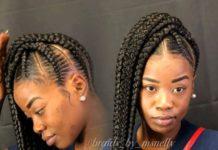 African Hair Braiding Large Feeder Braid Stitch Braids Feedin