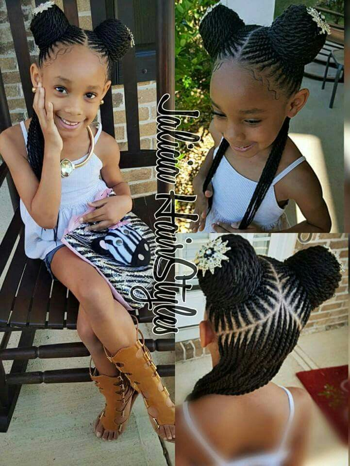 American And African Hair Braiding Black Little Girl