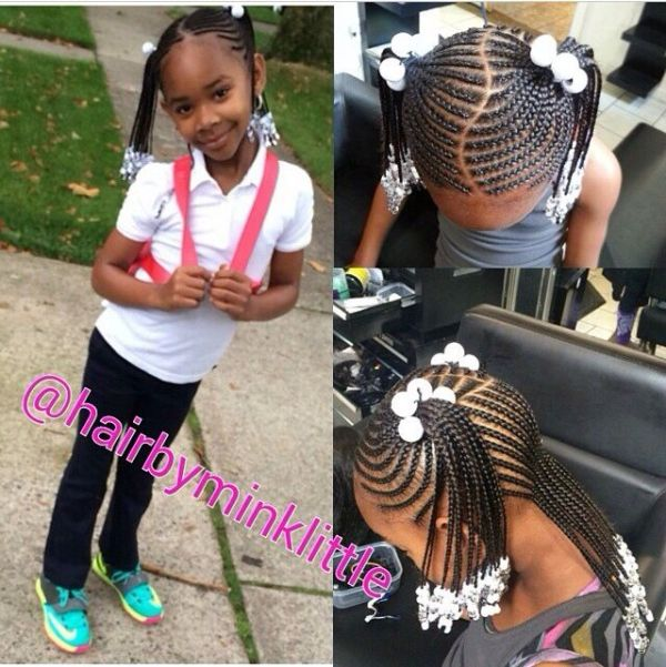 American And African Hair Braiding Little Girl Hair