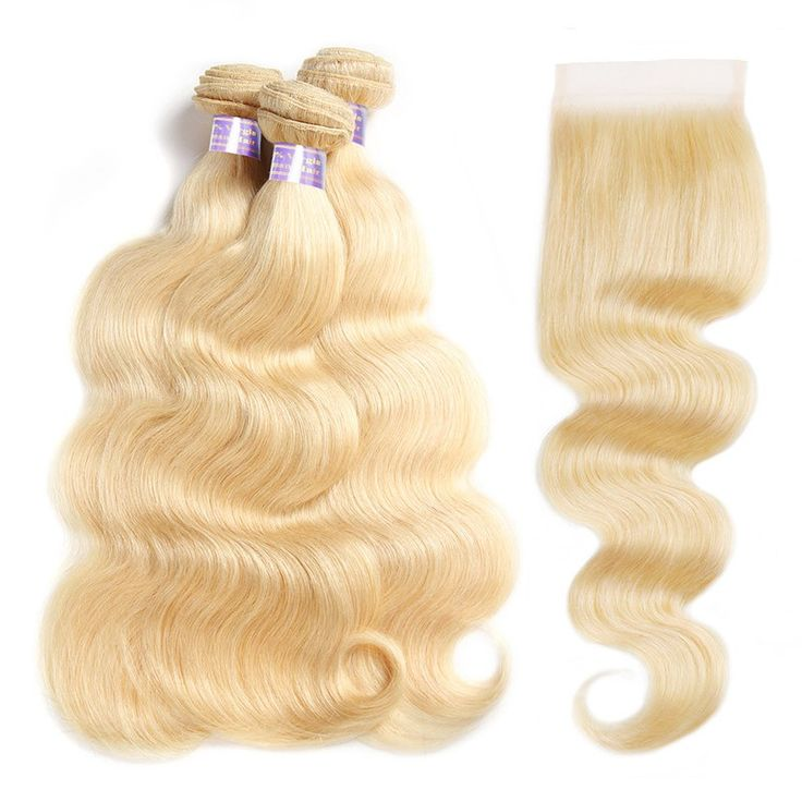 Allove 613 Blonde Human Hair 3 Bundles With Closure Peruvian Body Wave Hair With...