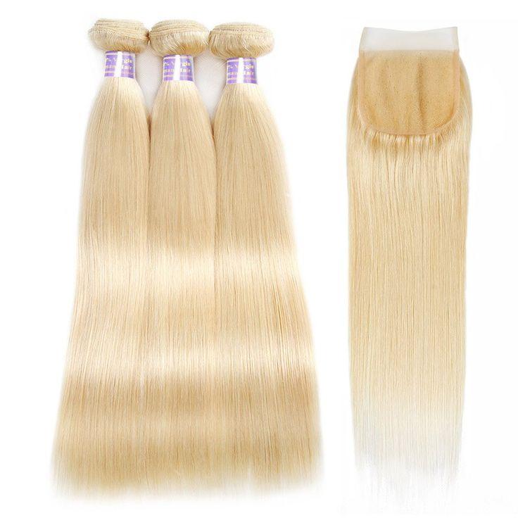 Allove Hair 613 Blonde Virgin Hair Bundles Bundles With 4x4 Lace Closure Free Pa...