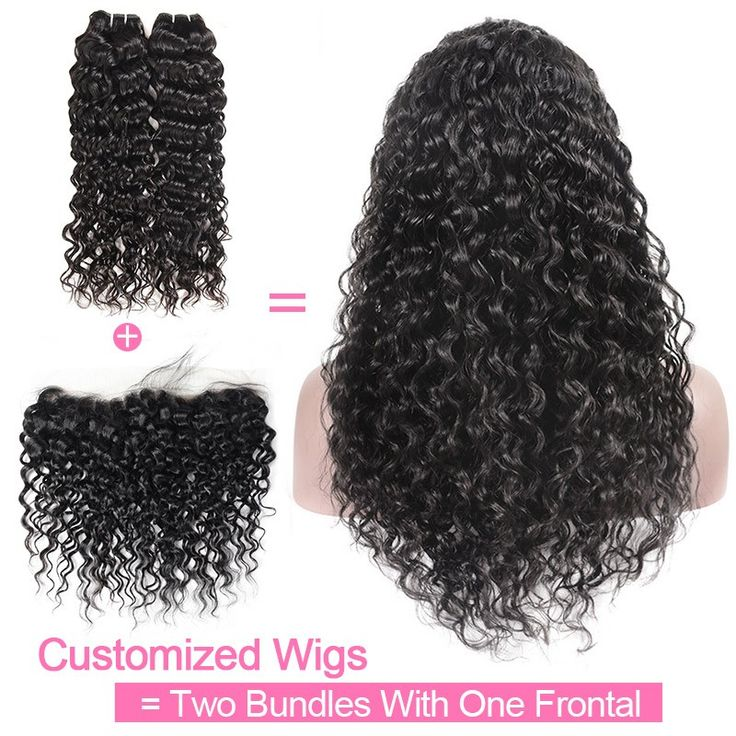 Customized Wig By 2Pcs Water Wave Human Hair With One Lace Frontal 130% Destiny ...