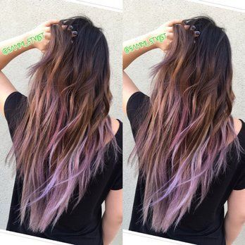 Balayage ombre of Ash Brown with lilac tips. Hair By Sammi Situ. Please text me ...