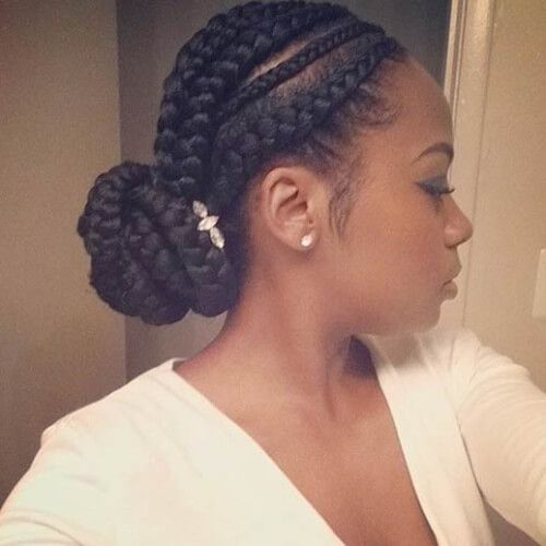Accessorized Ghana Braids Bun