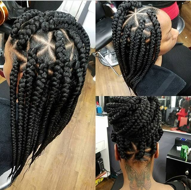 Box braids, natural hairstyles, protective hairstyles, triangle parts.