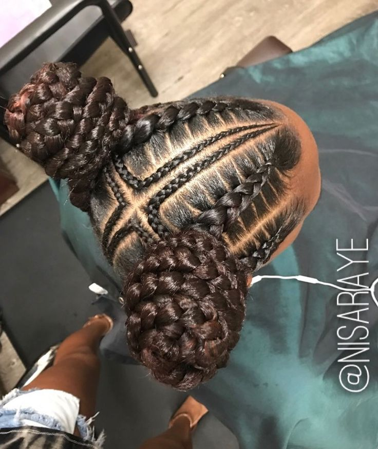 Dope braided buns by @nisaraye - blackhairinformat...