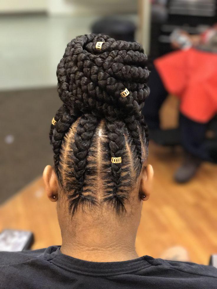 Feed in braids #bun #braidedhairstyles #feedinbraids #braidsandtwists #updo