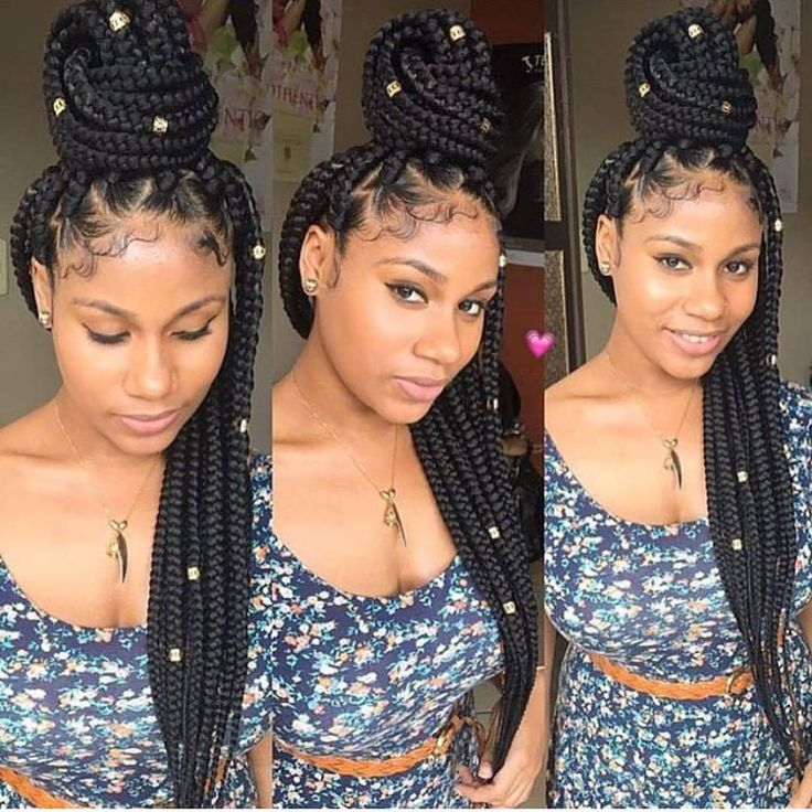 Hair By : Trendy Hair Haven Jumbo tight box braids with cuffs. Neat lining and w...
