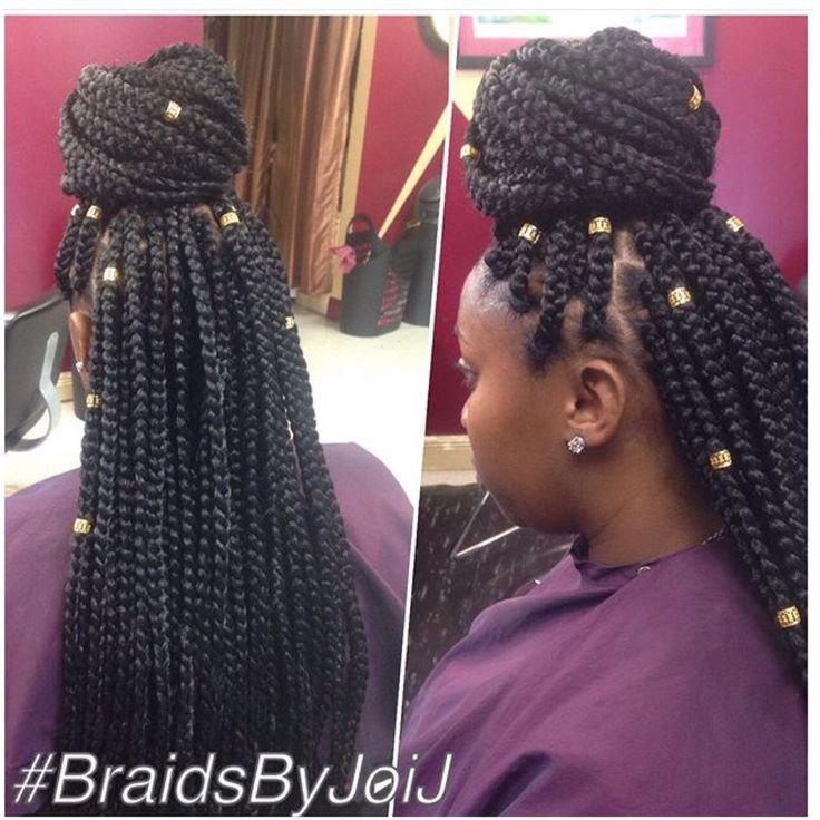 Long Medium Box Braids w/ Hair Jewelry