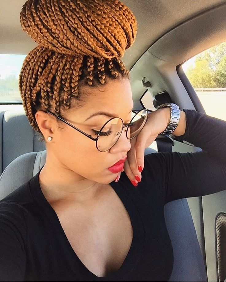 Protective styles | high bun | Box Braids top bun | ginger braids | honey blonde...