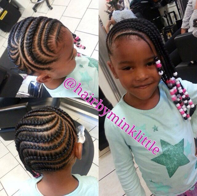 Cute Cornrows And Beads - www.blackhairinfo... #kidshairstyles